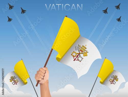 Foto Vatican flags flying under the blue sky