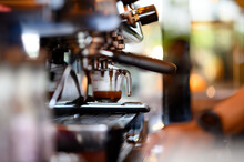 Close Up Of Coffee Making In The Coffee Machine