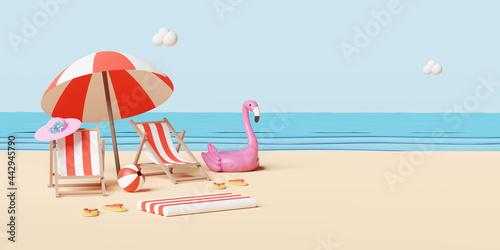 Fotografie, Obraz summer sea beach and island with beach chair,umbrella,ball,Inflatable flamingo,c