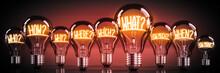 Questions Concept - Shining Light Bulbs - 3D Illustration