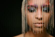 Stylish Ethnic Woman In Creative African Headpiece In Studio