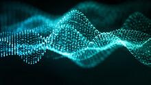 抽象的なテクノロジーの背景。青のパーティクルの波。3D。