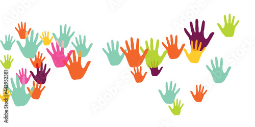 Fotografia Cheerful children handprints art therapy concept vector illustration