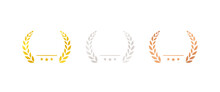 Set Of Gold Silver And Bronze Medals Flat Icons / Award / Prize / Rank / Ranking