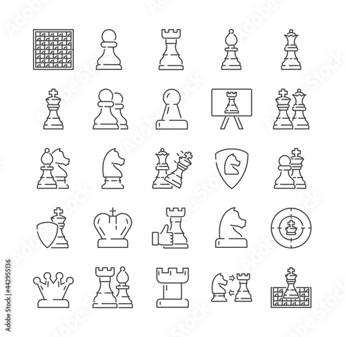 Billede på lærred Large set of chess icons with pieces and moves