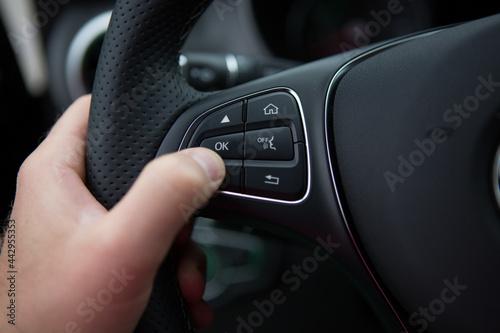 Obraz na plátně hand of a man driving  car