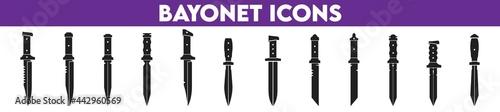 Obraz na plátne Set of knives. Bayonet Icons.