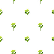 Isolated Seamless Pattern With Little Green Flowers Shapes Print. White Background. Floral Botany Print.