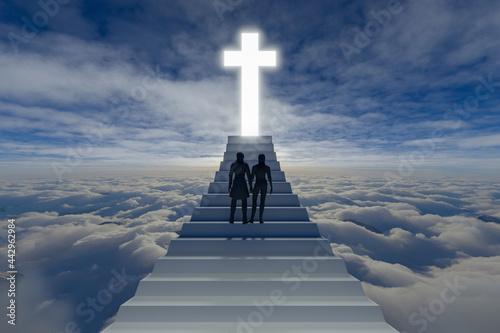 Fotografie, Obraz Stairway Leading Up To Heavenly Sky Toward The Cross of Light