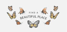 Beautiful Place Slogan With Colorful Flying Butterflies Vector Illustration