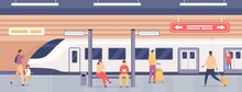Subway Platform With People. Passengers On Metro Station Waiting For Train. City Underground Public Railway Transport, Flat Vector Concept