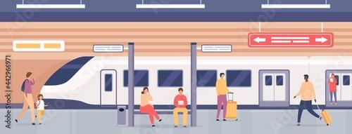 Obraz na plátně Subway platform with people