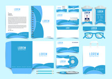 Stationery Corporate Brand Identity Mockup Set With Blue And White Abstract Geometric Design. Business Stationary Mockup Template Of Guide, Annual Report Cover, Brochure, Bag, Corporate Letterhead.