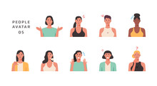 People Portraits Of Young Women With Negative Emotion, Female Faces Avatars Isolated Icons Set, Vector Design Flat Style Illustration