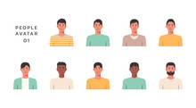 People Portraits Of Young Men Isolated Icons Set, Male Faces Avatars, Vector Design Flat Style Illustration