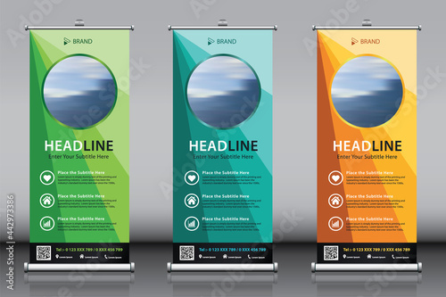 Obraz na plátně Roll up banner design collection with blue green yellow colorful background and image