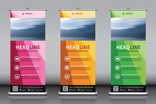 Roll Up Banner Design Collection With Pink Green Yellow Colorful Artwork And Image. Editable Vertical Template 3 Vector Set, Modern Standee And Flag Banner