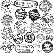 London England Stamp Vector Art Postal. Postmark Passport Travel Design Set Sign.