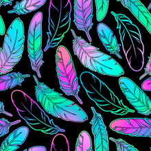 Seamless Illustration Depicting Scattered Multicolored Beautiful Feathers
