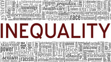 Inequality Vector Illustration Word Cloud Isolated On A White Background.
