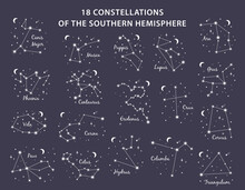 18 Constellations Southern Hemisphere Set Includes Constellations Canis Major, Eridanus, Phoenix, Wolf, Crane, Hydra, Keel, Whale, Poop, Dove, Raven And Others. Vector Illustration On Blue Background