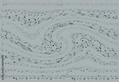 fale dźwiękowe nuty