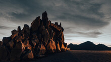 Sunset Over The Mountains With Rock Formation