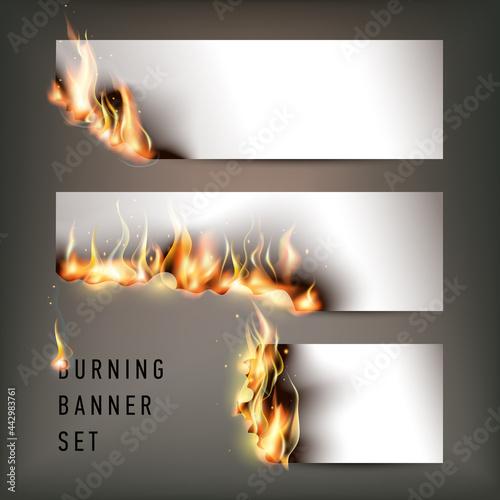 Obraz na plátně Hot fire banners set with orange flames for your design