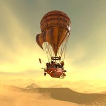 Vintage Air Balloon Iscrossing The Desert Dune