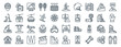 linear pack of ski resort line icons. linear vector icons set such as medical, person, , fishing, lodge, gloves. vector illustration.