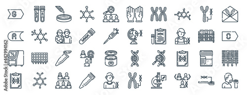 Fotografering linear pack of dna test line icons