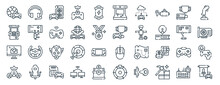 Linear Pack Of Gaming Line Icons. Linear Vector Icons Set Such As Headset, Arcade Machine, Competition, Game Emulator File, Score, Quest. Vector Illustration.