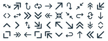 Linear Pack Of Arrows Line Icons. Linear Vector Icons Set Such As Turn Right, Up Right, Minimize, Up Arrow, Maximize, Left Down. Vector Illustration.