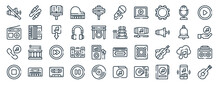 Linear Pack Of Music Line Icons. Linear Vector Icons Set Such As Jack, Microphone, Xylophone, Music, Stop, Guitar. Vector Illustration.