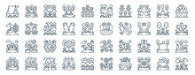 Linear Pack Of Spring Season Line Icons. Linear Vector Icons Set Such As Globe, Pond, Easter Egg, Flowers, Park, Watering. Vector Illustration.