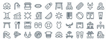 Linear Pack Of Water Park Line Icons. Linear Vector Icons Set Such As Shower, Swing, Sun, Table, Water Park, Slider. Vector Illustration.