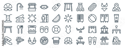 Fotografia linear pack of water park line icons