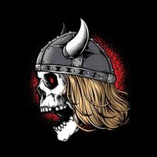 Viking Skull Warrior Wearing Helmet Vector