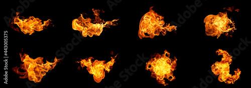 Fotografie, Obraz Fire flames on a black background
