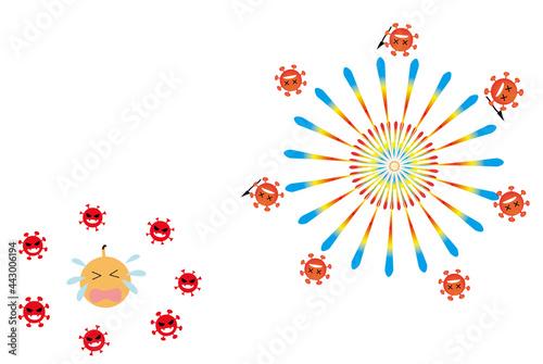 Obraz na plátne 新型コロナウイルスの影響で、花火大会がたくさん中止になりました。そんな新型コロナに苦しめられた花火が、反撃の打ち上げをするコンセプト。