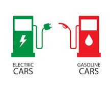 Symbols For Electric Cars And Gasoline Cars. Electric Energy Vs Petrol Oil. Vector Illustration In Flat Style Modern Design. Clean Energy In The Future.
