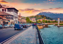 Beautiful Evening Cityscape Of Berat Town. Wonderful Spring Sunset In Albania. Traveling Concept Background.