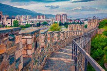 Attractive Spring Cityscape Of Skopje - Capital Of North Macedonia, Europe.  Stone Wall Of Skopje Fortress - Remains Of A 6th-century Hilltop Stone Fortress. Сharm Of The Ancient Cities Of Europe..