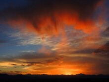 Fiery Sunset Along The Colorado  Rocky Mountain   Front Range, As Seen From Broomfield, Colorado
