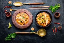 Thai Tom Yum Soup With Shrimp,top View