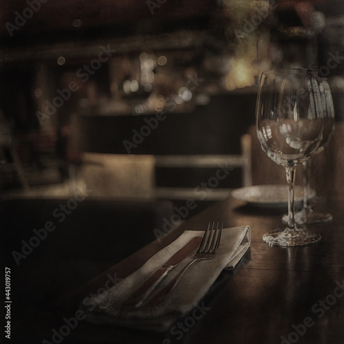 Murais de parede glass of red wine / vintage background, old cask wine, alcohol tasting