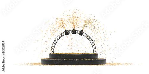 Fototapeta podium avec cotillons pour présentation de produit - rendu 3D