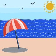 Illustration Of A Red And White Beach Umbrella Standing On The Beach, On The Seashore, Against The Blue Sky And The Sun. Perfect For Postcards, Posters, Cards, Invitations, Stickers, Flyers, Brochures