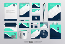 Stationery Office Items Mockup Set With Corporate Brand Identity Design. Blue And White Abstract Graphics. Business Stationery Mockup. Office Equipment Set Of Paper Bag, White Mug, Notepad, Envelope