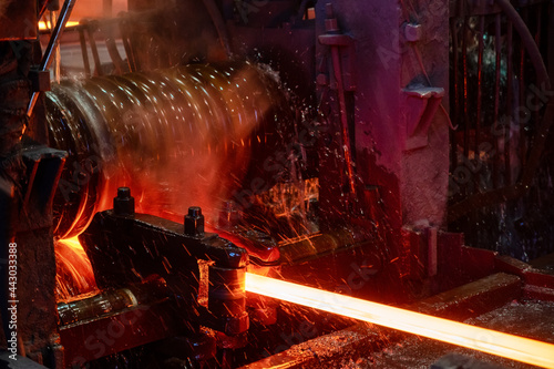 Fotografie, Obraz The rolling mill in operation. Manufacturing of hot rolled steel